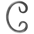 "[AA] Forged Steel C Scroll.  2-3/8"" Width, 3-15/16"" Height."