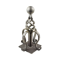 "Forged Steel Post Top. 8"" Width, 14-1/4"" Height."