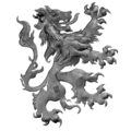 "Forged Steel Brittannic Lion. 19-11/16"" W, 21-7/16"" Height."