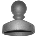 "Cast Iron Post Cap Ball. Fits  4"" Pipe."