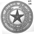 "Cast Iron State of Texas Medallion.  5-1/4"" Diameter."