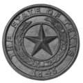 "Cast Iron State of Texas Medallion. 8-5/8"" Diameter."