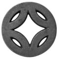 "Cast Iron Ring Center Diamond. 3-15/16"" Diameter."