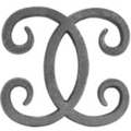 "Cast Iron Double C Scroll. 5-1/4""W, 5-3/8""H"