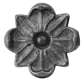 "Cast Iron Rosette, Single Faced.  3-5/16"" Diameter."