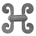"Cast Iron Casting, H Scroll. 2-3/4"" W, 2-7/8"" H"