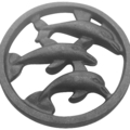 "Cast Iron Dolphins of Palisades. 5-1/2"" Diameter"