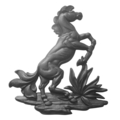 "Cast Iron Fighting Stallion, Left. 15-9/16"" H"
