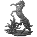 "Cast Iron Fighting Stallion, Right. 16-15/16"" H"