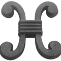 "Cast Iron Picket, H Scroll. 3-15/32""W,3-21/32""H"