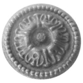 "Cast Iron Rosette, Single Faced, 3-9/16"" Diameter."
