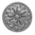 "Cast Iron Rosette, Single Faced 2"" Diameter."