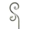 "[A] Forged Steel Baluster Scroll Ends. 35-7/16"" Height."
