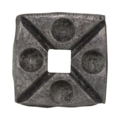 "Forged Steel Decorative Base Plate. Fits 1/2"" Square."