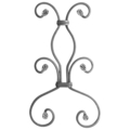 "[AA] Forged Steel Picket Scroll.  Fits 1/2"" Sq.  13-9/16"" H."