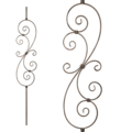 "[A] Forged Steel Baluster w 2 S Scrolls 45-1/4"" Height."
