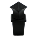 "Plastic Finial, Black. Angled, Drives In 1"" Square."