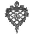 "Forged Steel Heart Panel.  14-9/16"" Width, 20-1/16"" Height."
