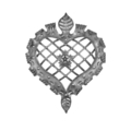 "Forged Steel Heart Panel.  24-7/16"" Width, 31-1/2"" Height."