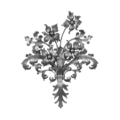 "Forged Steel Flower Spray. 18-1/8"" Width, 26"" Height."