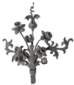"Forged Steel Flower Spray.  15-3/4"" Width, 20-1/2"" Height."