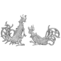 "Aluminum Fighting Roosters Without Tabs 8-1/4"" H"