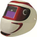 "Red Shocker Carrera Welding Helmet. 7.2"" Sq. Viewable Area."