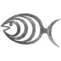 "Forged Steel Fish, Right. 12-3/8"" Width, 7-1/2"" Height."