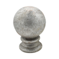 "Cast Steel Finial, 2-3/4"" Ball. 2-3/16"" Solid Base, 4"" H."