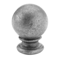 "Cast Steel Finial, 4-5/16"" Ball, 3-1/2"" Solid Base, 5-1/2"" H"