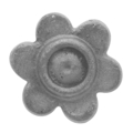 "Cast Steel Flower, Single Faced. 1-3/4"" Diameter"
