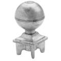 "Zinc Alloy Ball.  2"" Height, Drives In 1-1/4"" Square."