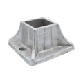"Aluminum Flanged Shoe. 2"" Height, Fits 1-1/2"" Square."