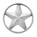 "Aluminum Star, Single Faced, w/out Tabs. 5-3/8"" Diameter"