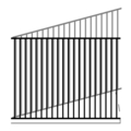 "Flat Top 1.25"" 2Rail 14G 5/8"" Picket 18G-70""x94"" Rake"
