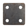 "Steel base plate, 3"" SQ 7/16"" holes, Thickness 3/8"""