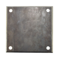 "Beveled Steel Base Plate 6"" SQ7/16"" holes, Thickness 3/16"""
