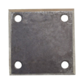 "Beveled Steel Base Plate 4"" SQ. 7/16""holes, Thickness 3/8"""