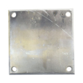 "Beveled ALUM Base Plate 8"" SQ 9/16"" Holes, 1/2"" Thickness"