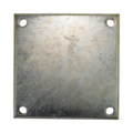 "Galvanized Beveled Base Plate 8"" SQ 9/16"" Holes, 1/2"" Thick"