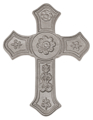 "Cast Iron Cross, with Rosettes and Fleur De Lis,12-5/8"" H,SF"