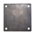 "Steel Base Plate, 6"" Square,  7/16"" Holes. Thickness 3/16"""