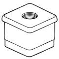 "1-1/2"" Sq Threaded Insert,M10 Thread"