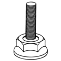 "1-1/2""Diameter Threaded Foot,M10 Thread"