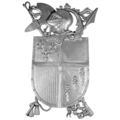 "Aluminum Coat of Arms. 12-3/8""W, 18"" H"