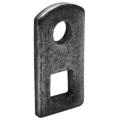"Steel Weld Tab, Square & RoundHole, 1""W, 2-3/8""H"