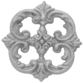"Cast Iron Rosette Single Faced. 6-1/2"" Diameter."