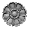 "Cast Iron Rosette, Double Faced, 3-3/4"" Diameter."