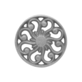 "Cast Iron Rosette, Single Faced. 3"" Diameter."