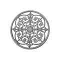 "Cast Iron Rosette, Single Faced.  17-3/8"" Diameter."